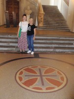 Jaci and Kerrie at entrance to Town Hall Toulouse