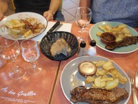 Bob, Kerrie and Jaci's meals at restaurant at Wine Cheese and Meat Market