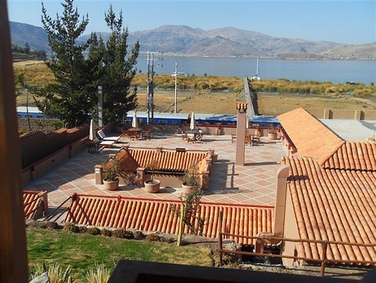View from the hotel over Lake Titicaca