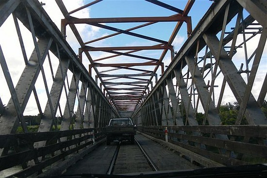 Scary shared rail and road bridge!