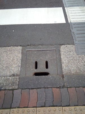 Just a face on the crosswalk