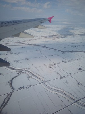 Snowy fields around Sapporo