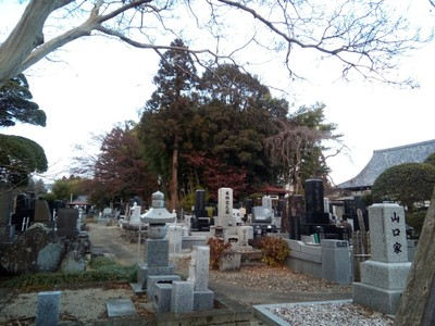 A graveyard near a cool house/temple (this one's certainly a temple)